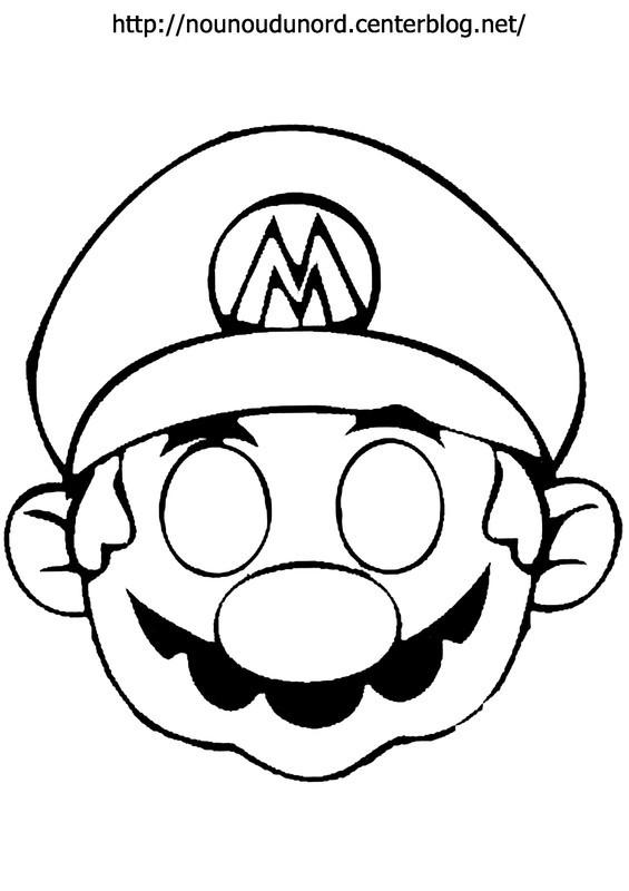 Coloriage Masque De Super Mario Dessin Gratuit à Imprimer