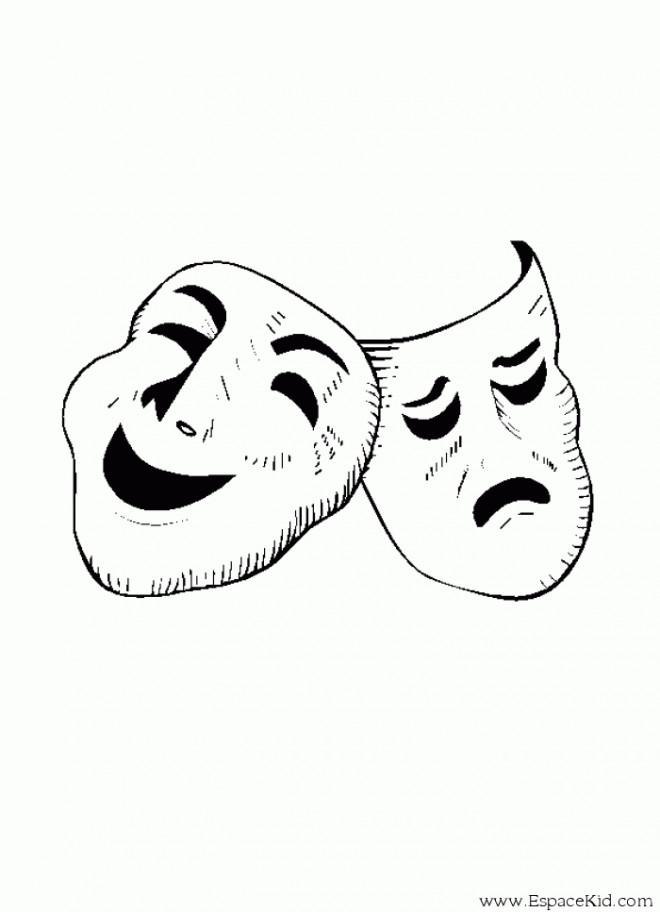 Coloriage masque de th tre dessin gratuit imprimer - Dessin de masque a imprimer ...