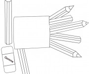 Coloriage et dessins gratuit Les Crayons de Couleur Scolaire à imprimer