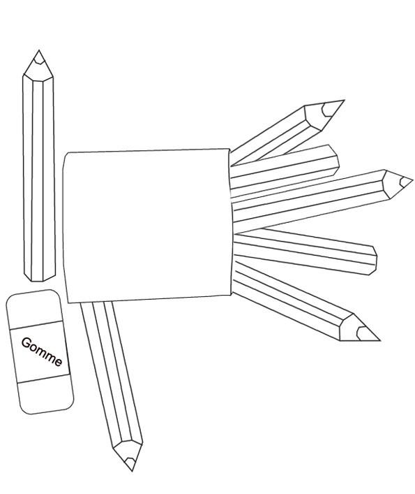 Coloriage Les Crayons De Couleur Scolaire Dessin Gratuit A Imprimer