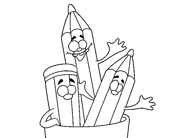 Coloriage et dessins gratuits Les Crayons te salue à imprimer