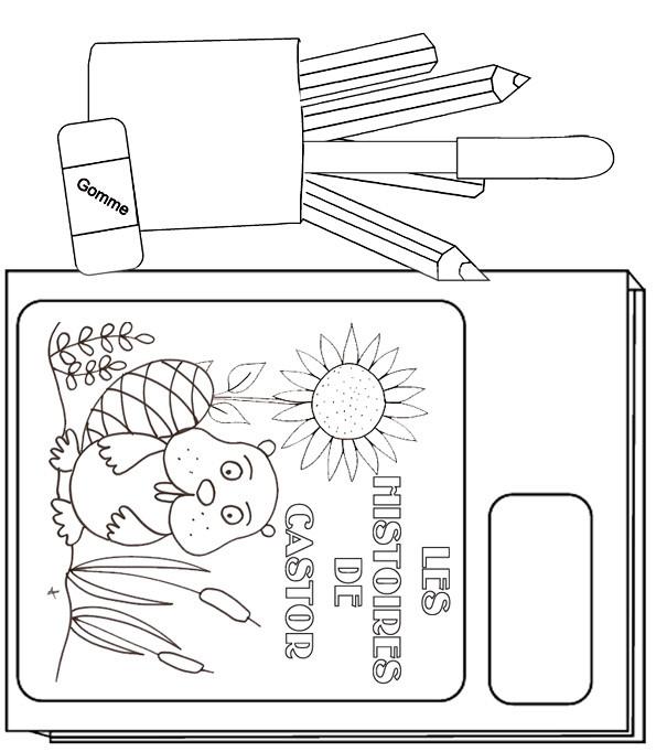 Coloriage et dessins gratuits Matériel Scolaire en noir et blanc à imprimer