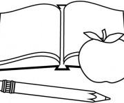 Coloriage Matériel Scolaire et Pomme