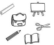Coloriage et dessins gratuit Matériel Scolaire stylisé à imprimer