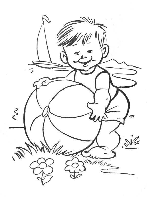 Coloriage Ballon de Plage en été dessin gratuit à imprimer