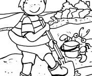 Coloriage Enfant qui joue sur la Plage