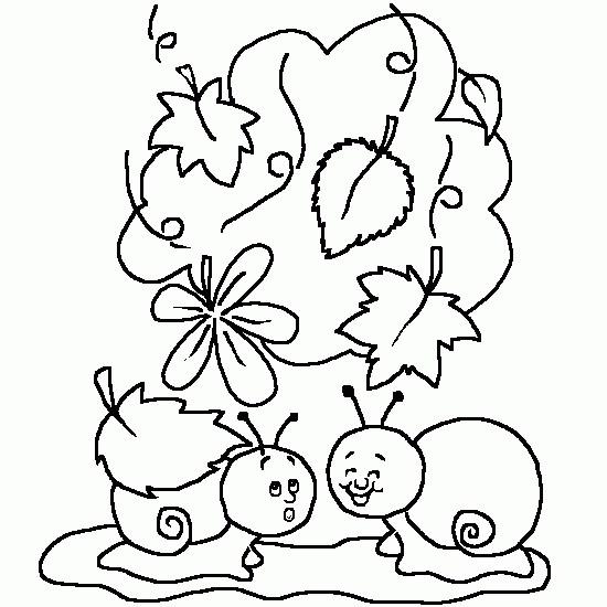 Coloriage escargots rigolos maternelle dessin gratuit - Dessin sur l automne a imprimer ...