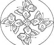 Coloriage et dessins gratuit Mandala Papillons à imprimer