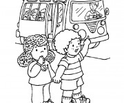 Coloriage On prend l'autobus maternelle