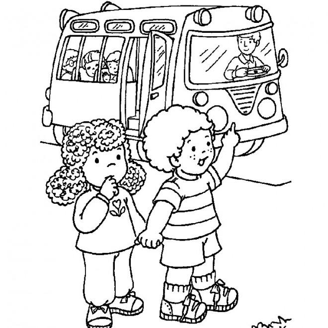Coloriage et dessins gratuits On prend l'autobus maternelle à imprimer
