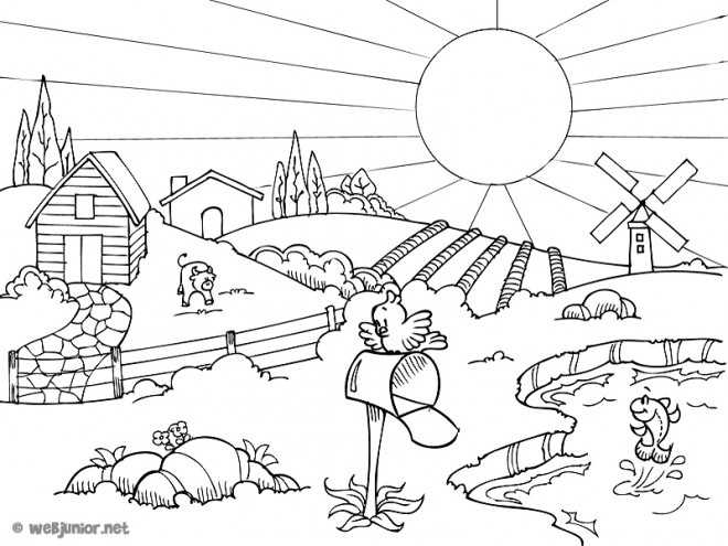Coloriage paysage de campagne en t - Dessin a colorier paysage ...