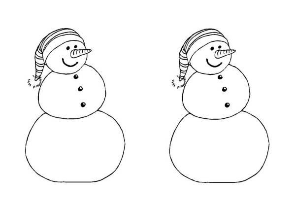 Coloriage et dessins gratuits Bonhommes de neige jumeaux à imprimer