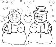Coloriage couple de bonhommes de  neige