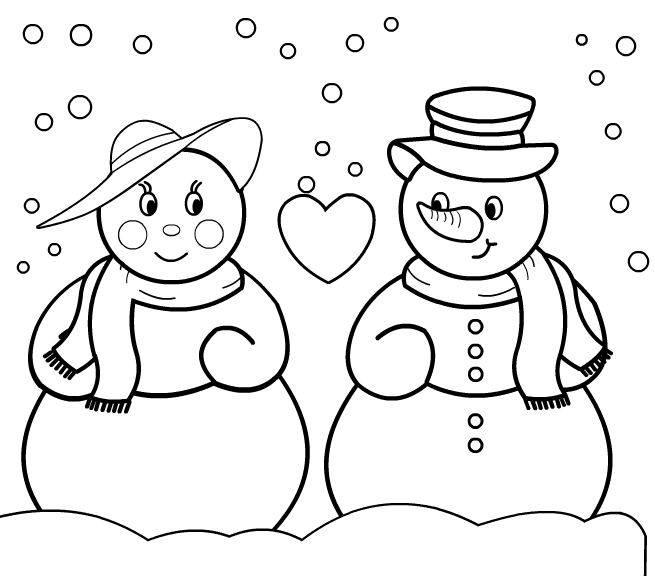 Coloriage et dessins gratuits couple de bonhommes de  neige à imprimer