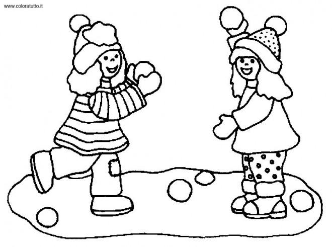 Coloriage et dessins gratuits Enfance en Hiver à imprimer