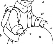 Coloriage Enfant et la Boule de Neige
