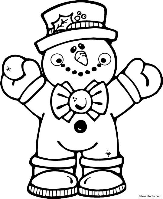Coloriage et dessins gratuits Maternelle Bonhomme de Neige Hiver à imprimer