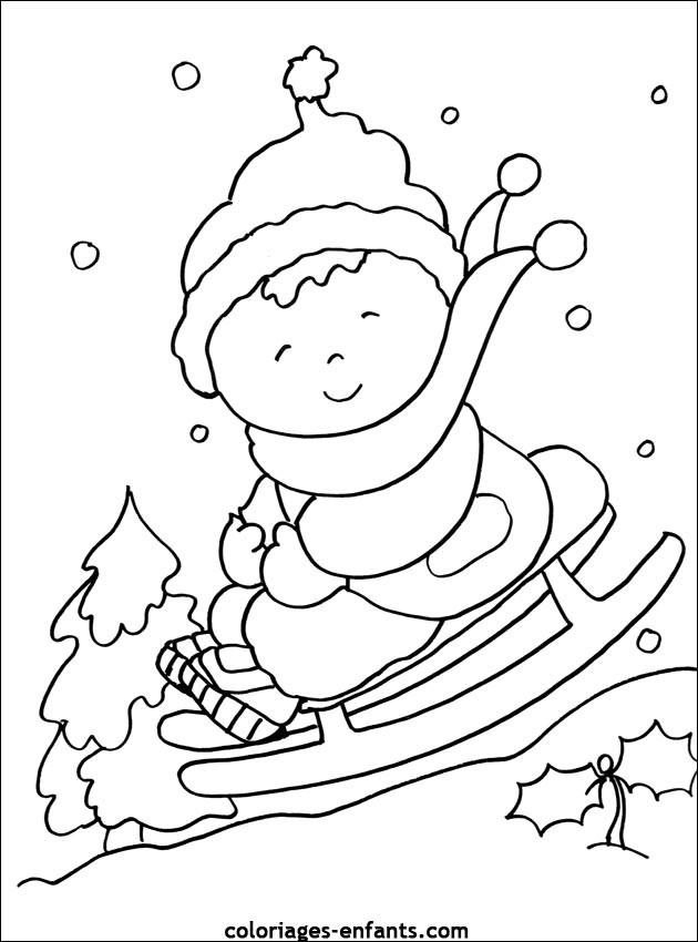 Coloriage Maternelle Hiver et La Neige dessin gratuit à ...