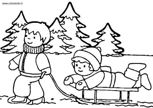 Coloriage et dessins gratuits Maternelle Hiver vecteur à imprimer