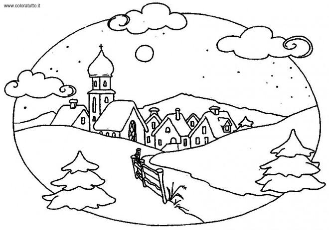 Coloriage et dessins gratuits Paysage d'Hiver à découper à imprimer