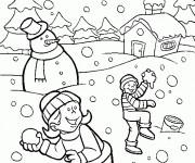 Coloriage Paysage neigeux
