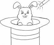 Coloriage et dessins gratuit lapin et chapeau magique à imprimer