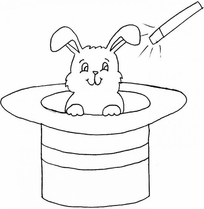 Coloriage et dessins gratuits lapin et chapeau magique à imprimer