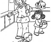 Coloriage Mère et ses petits  Maternelle