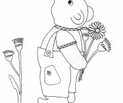 Coloriage et dessins gratuit Ours et Fleurs Maternelle à imprimer