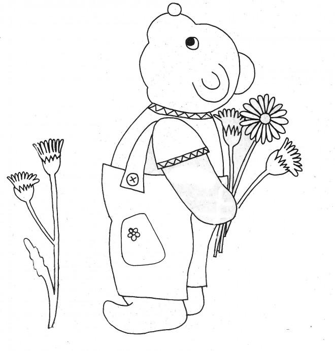 Coloriage et dessins gratuits Ours et Fleurs Maternelle à imprimer