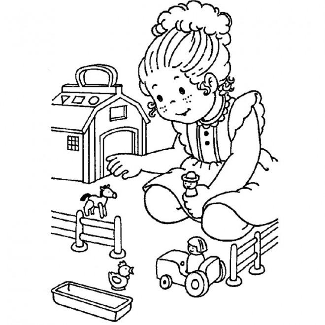 Coloriage et dessins gratuits Une Fille et ses Jouets Maternelle à imprimer