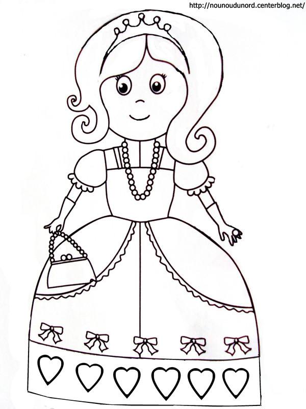 Coloriage Une Princesse Maternelle Dessin Gratuit à Imprimer