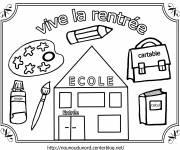 Coloriage et dessins gratuit Vive la Rentrée scolaire à imprimer