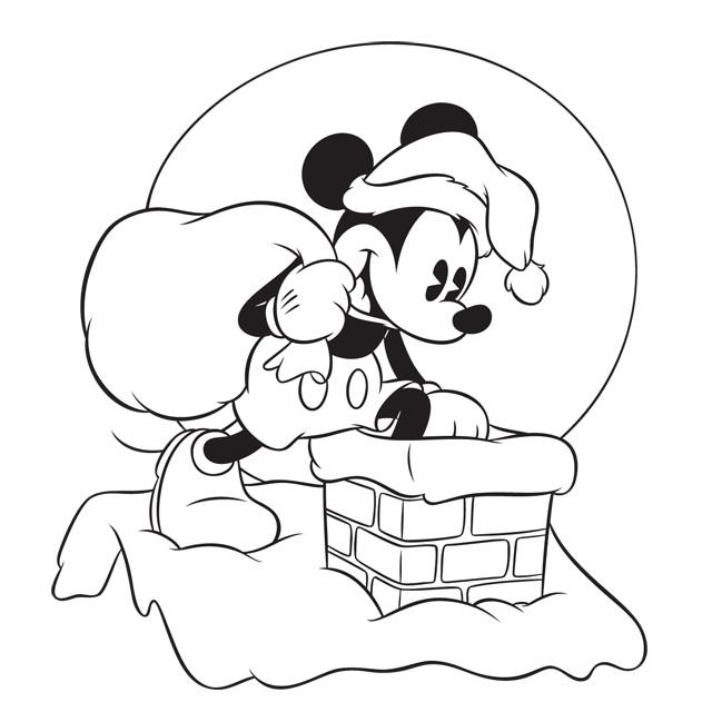 Coloriage Mickey Apporte Les Cadeaux Noel Dessin Gratuit à