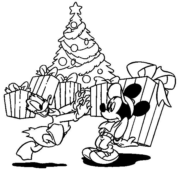 Coloriage Mickey Et Donald Noel Dessin Gratuit à Imprimer