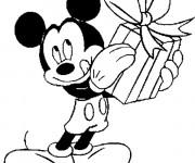 Coloriage Mickey et les cadeaux de Père Noël