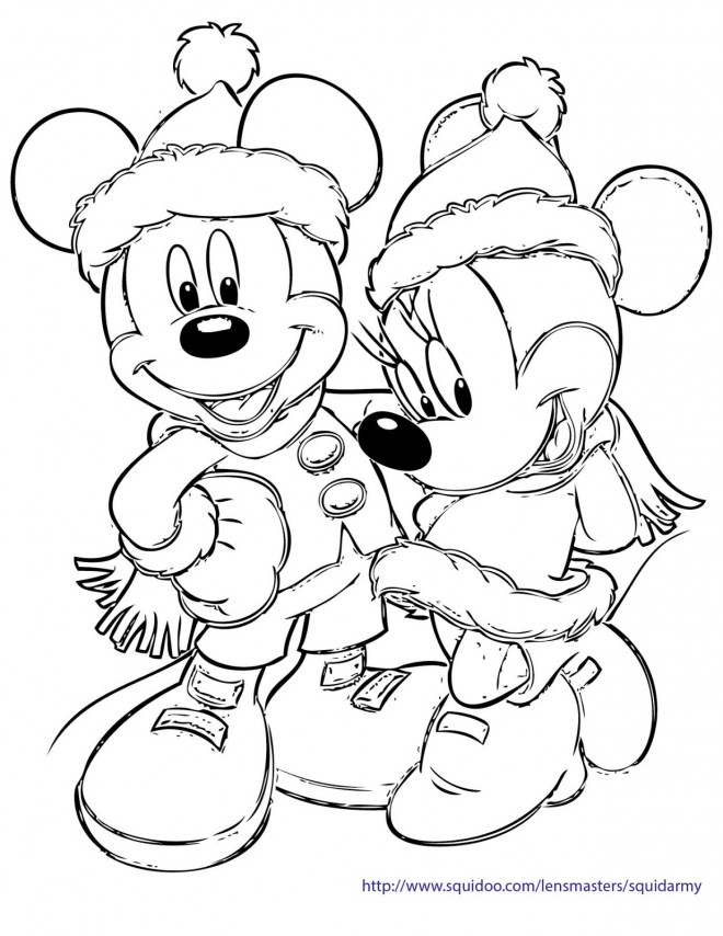 Coloriage Mickey Et Minnie Noel A Decorer