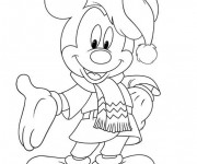 Coloriage Mickey Mouse Noel à colorier