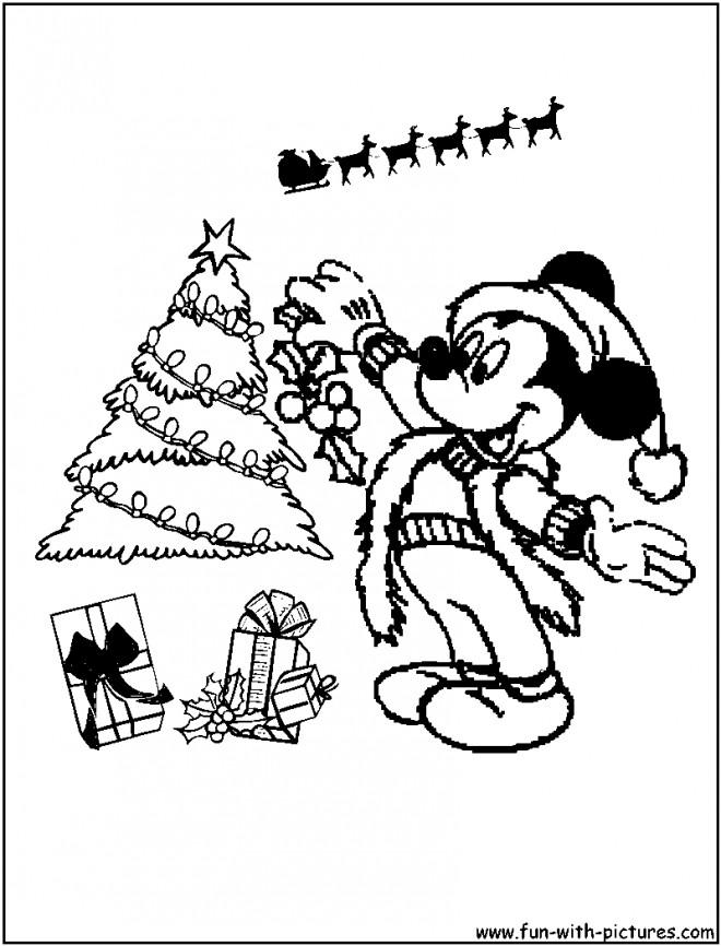 Coloriage Mickey Noel pl ter dessin gratuit imprimer