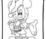 Coloriage Mickey Noel à découper