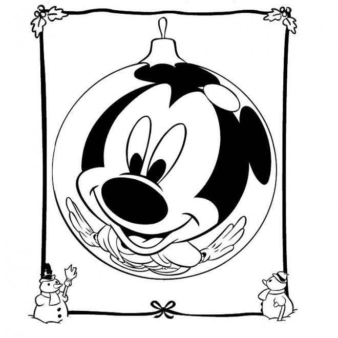 Coloriage et dessins gratuits Mickey Noel humoristique à imprimer