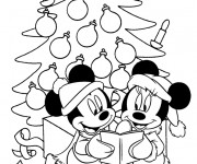 Coloriage Mickey Noel maternelle