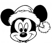 Coloriage Mickey portant le bonnet de  Noel