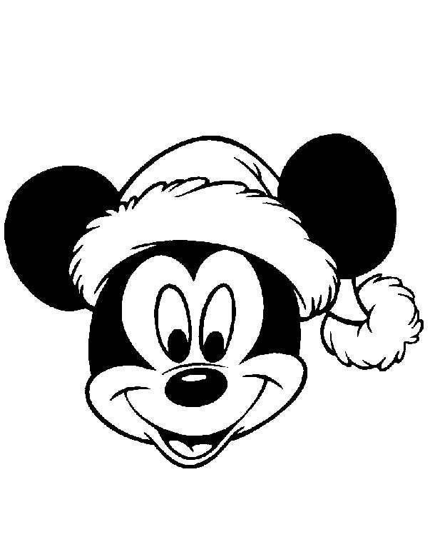 coloriage mickey portant le bonnet de noel dessin gratuit