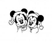 Coloriage Minnie et Mickey  Noel Disney