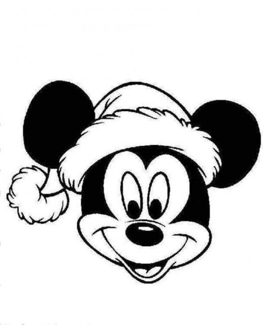 Coloriage Tete De Mickey En Portant Le Bonnet De Noel