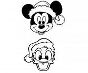 Coloriage Tetes De Mickey Et Donald Noel Dessin Gratuit A Imprimer
