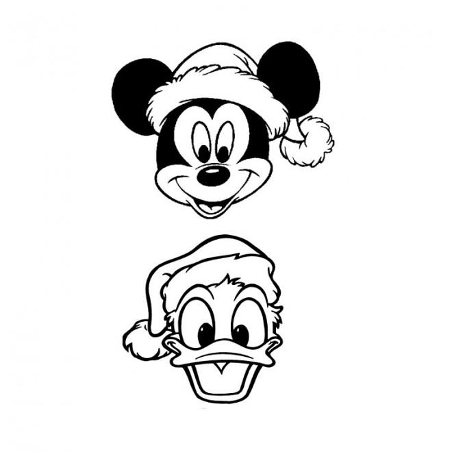 Coloriage et dessins gratuits Têtes de Mickey et Donald Noel à imprimer