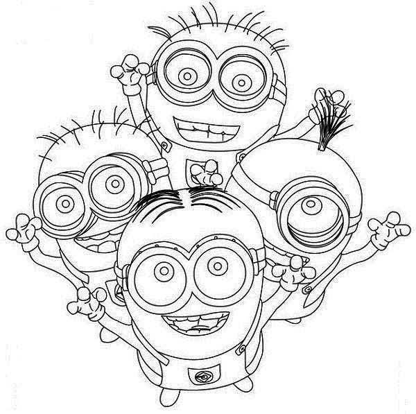 Coloriage et dessins gratuits Les Minions joyeux à imprimer