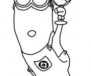 Coloriage et dessins gratuit Minion Kévin aime La Glace à imprimer